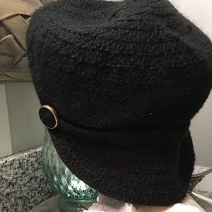 August Black Knit Newsboy Hat